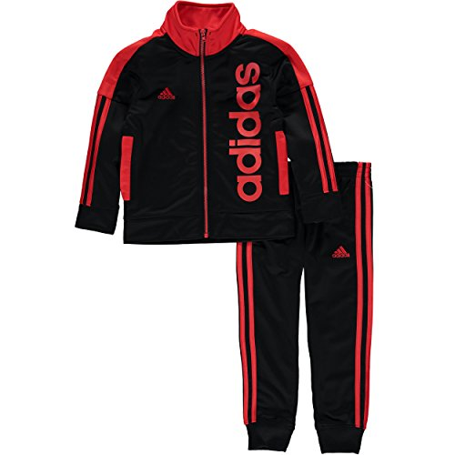 Adidas Boys' Contrast Tricot Track Suit - Red - 4