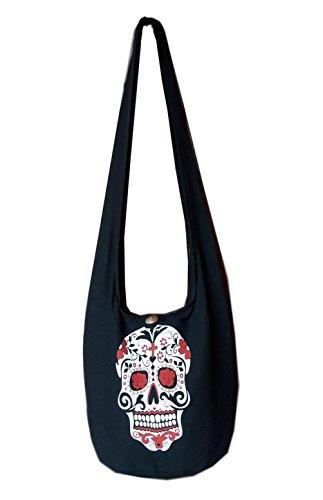 (BTP! Skull Punk Rock Hippie Hobo Thai Cotton Sling Crossbody Bag Messenger Purse (Sugar Skull SK10))