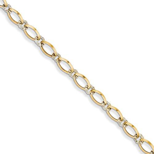 Or bicolore 14carats ovale et cercle en bracelet
