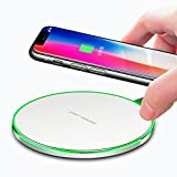 Lamyik Fast Wireless Charger Standard Qi-Certified Ultra Slim Wireless Charging Pad for iPhone X, iPhone 8, Galaxy S8 and All Qi-Enabled Devices (White)