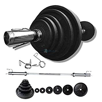 Juego de pesas de clásico Bodyrip 100 kg incluyendo 152,4 cm para ...