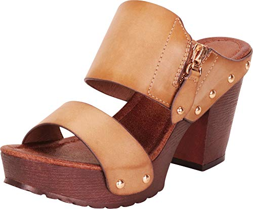 Cambridge Select Women's Retro 70s Studded Clog Chunky Platform Block Heel Slide Sandal,8.5 B(M) US,Beige PU