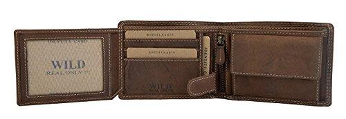 Leder Geldbörse für Herren Männer Geldtasche camal-braune Geldbörse Geldbeutel für Männer Leder Natur Optik Portemonnaie Brieftasche