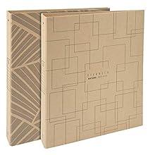Exacompta 51947E - Carpeta de 4 anillas rigida Eterneco, Tamaño 32x25cm, 4 anillas de 3cm y lomo de 4cm, Cubierta de papel con aspecto natural y hecho con materias vegetales, visual aleatorio