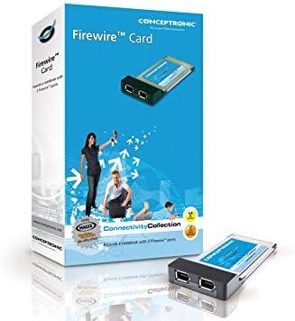Negro y Blanco Tarjeta PCMCIA 2 Puertos FireWire Conceptronic PC Card 2-Port