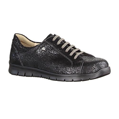Finn Comfort Canaria - Zapatos cómodos / relleno suelto Zapatos mujer Cómodo Zapatos de cordones, Negro, cuero (crash) Negro