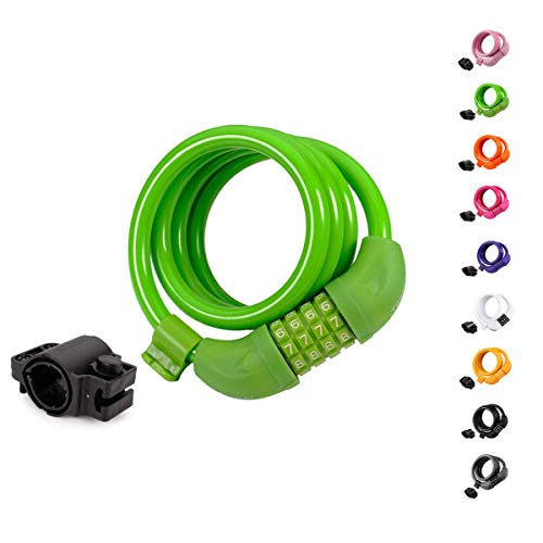 (Titanker Bike Lock, 4ft Security Resettable Combination Coiling Bike Cable Locks with Mounting Bracket, 1/2 Inch Diameter (Green))