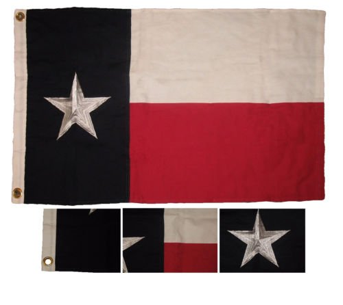 (Moon Knives 2x3 Embroidered State of Texas 100% Cotton flag 2x3 Clips (Fully Emb Star) - Party Decorations Supplies For Parades - Prime Outside, Garden, Men Cave Decor Flag)