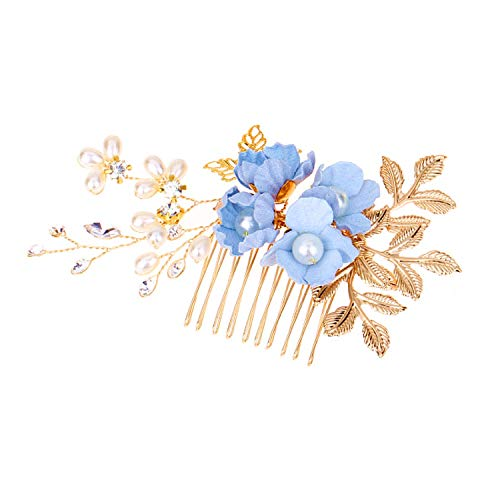 Mondora Bride Hair Comb Blue Flower Leaf Filigree Handmade DIY Women's Austrian Crystal Gold-Tone Clear