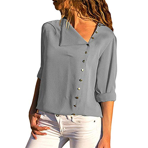 2019 Fashion Long Sleeve Women Blouses and Tops Skew Collar Solid Office Shirt Casual Tops,Gray,XL ()