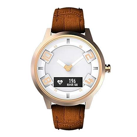Reloj inteligente de Moda Lenovo Watch X Correa de Cuero Genuino, Monitor de Ritmo cardíaco/Monitor de sueño/Foto de Gestos/Recordatorio ...