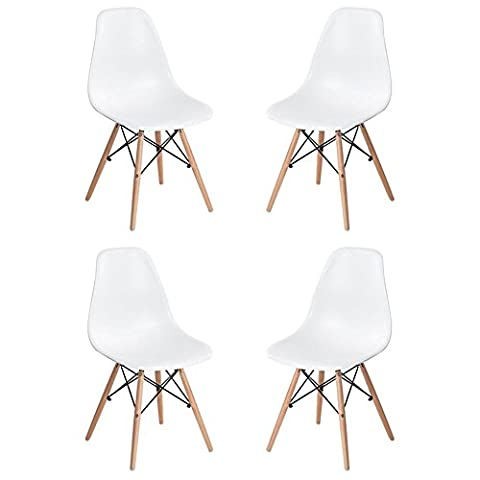 Homycasa Set of 4 Eames Eiffel DSW Style Modern Side Dining Chairs- Natural Wood Legs (Plastic Chairs Set Of 4)