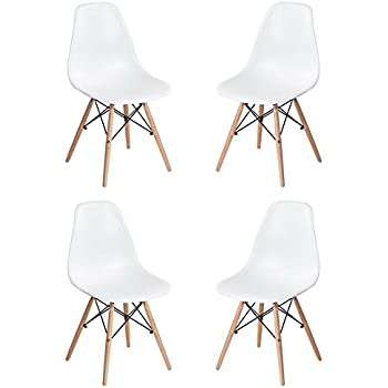 Homycasa Set of 4 Eames Eiffel DSW Style Modern Side Dining Chairs  Natural  Wood LegsAmazon com  Set of 4 Eames Eiffel DSW Style Side Dining Chair  . Set Of 4 Replica Eames Eiffel Dsw Dining Chair White. Home Design Ideas