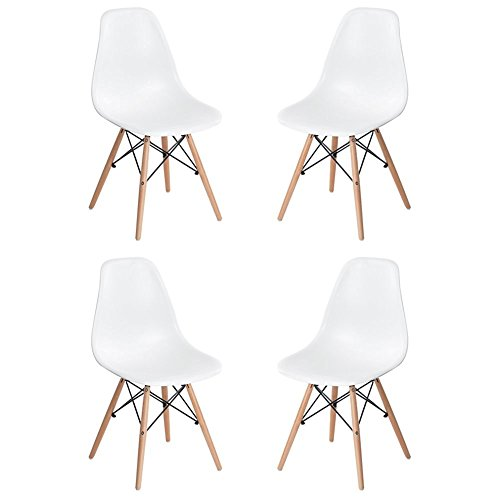 Homycasa Set of 4 Eames Eiffel DSW Style Modern Side Dining Chairs- Natural Wood Legs