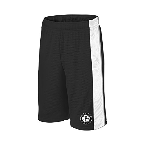NBA Brooklyn Nets Children Unisex NBA Youth bar Stripe Poly Shorts,M,blk/Wht/Grey (Youth Nets)