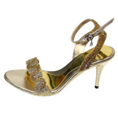 Wear & Walk UK - Sandalias de vestir de Material Sintético para mujer 42, color Dorado, talla 42