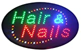 CHENXI Oval Nails&Spa Hair&Nails Beauty Business Store Neon Signs 48X25 CM Indoor Ultra Bright Flashing Led Beauty Display Sign (48 X 25 CM, hair&nails)