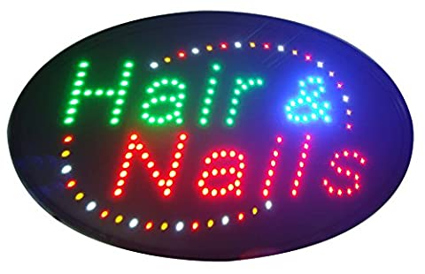 CHENXI Oval Nails&Spa Hair&Nails Beauty Business Store Neon Signs 48X25 CM Indoor Ultra Bright Flashing Led Beauty Display Sign (48 X 25 CM, - Nails Logo Led Sign