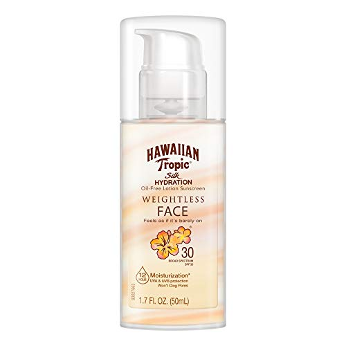 Hawaiian Tropic Silk Hydration Weightless Sunscreen Face Lotion, Broad-Spectrum Protection, SPF 30, 1.7 Ounces (Best Sunscreen For Your Face)