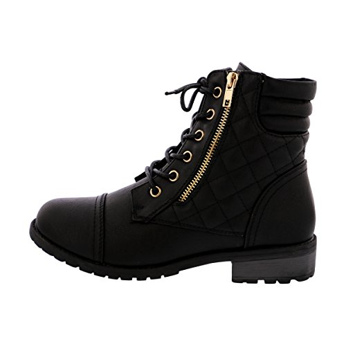 Forever - Womens Quilted Side Gold Zipper Lacy Up Boot - (Black And Gold Boots)