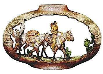 PS 12 Inch Pottery Carving Native American Pack Horses Figurine ()