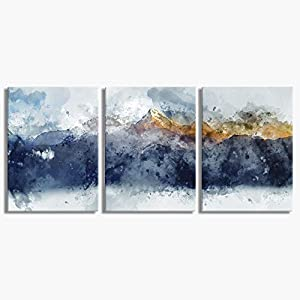 Abstract Canvas Wall Art for Living Room Modern Navy Blue Abstract Mountains Print Poster Picture Artworks for Bedroom…