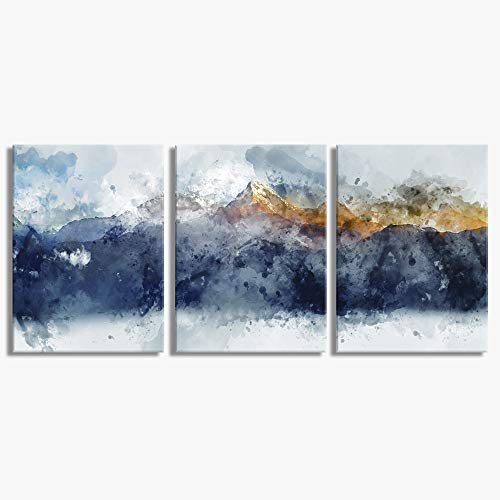 Abstract Canvas Wall Art for Living Room Modern Navy Blue Abstract Mountains Print Poster Picture Artworks for Bedroom Bathroom Kitchen Wall Decor 3 Pieces Framed Ready to Hang (Wall Art By)