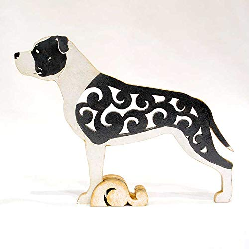 American Staffordshire Terrier (pit bull) black-white Dog, dog figurine, dog statue made of wood (MDF), statuette hand-painted