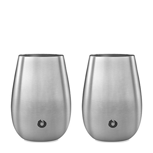SNOWFOX Insulated Stainless Steel Stemless Wine Glasses, Set of 2 8 oz Slim