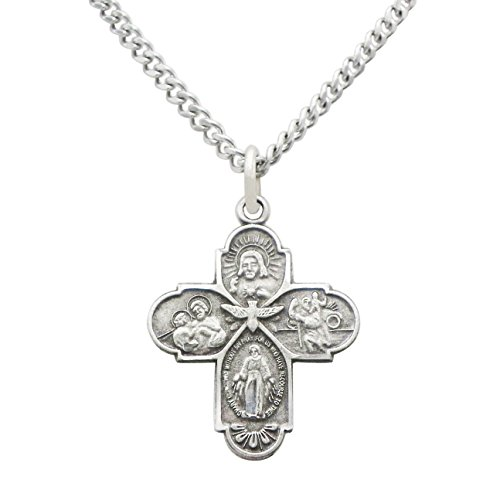 Rosemarie Collections Religious Gift Small Four Way Cross Pendant Necklace 18