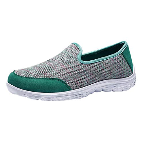(♛TIANMI Women Shoes Fashion Ladies Breathable Flat Bottom Non-Slip Shoes Casual Woven Shoes(Mint Green,38))