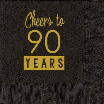 90th Birthday Black Cocktail Napkins - Cheers to 90 Years (50 napkins)]()