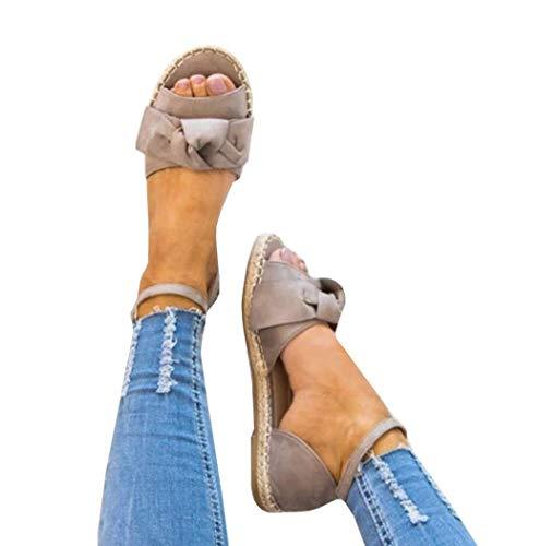 (Fashare Womens Espadrilles Tie up Flat Sandals Peep Toe Classic Cutout D'Orsay Dress Shoes)