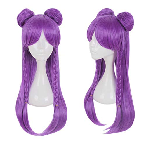 Kadiya Heat Resistant Long Bright Purple Braided Straight Girls Anime Show Costume Play Cosplay Wigs with Buns