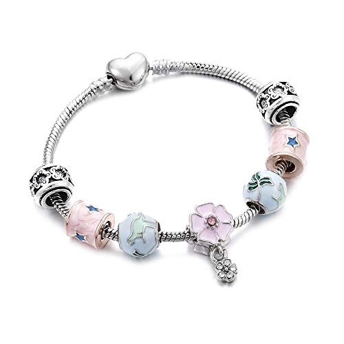RQQDSZ Trend Silver Charms Bracelet Bangle Crystal Beads Cherry Blossom Leaves Heart Bee Jewelry Lover Wedding Women Gifts