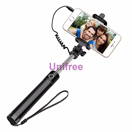 Unifree-Compact-Pocket-Size-Selfie-Stick-Wired-for-iPhone-and-Android-Locust-Aux-Cable-Monopod-Premium-Series