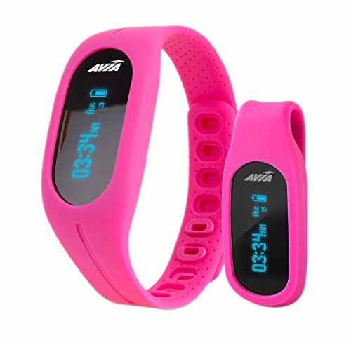 Avia TEMPO App-Based Fitness Tracker Duo Wear Wristband and Belt Clip - Pink (Multiple Colors Available)