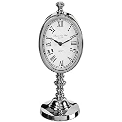 Sullivans Oval Table Clock Metal Silver Home Accessories