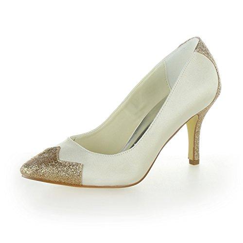 Satin JIA JIA Shoes Ivory 8390B12 Wedding Cap Pumps Toe Shoes Heels Women's Bridal 8r1dwSPrq