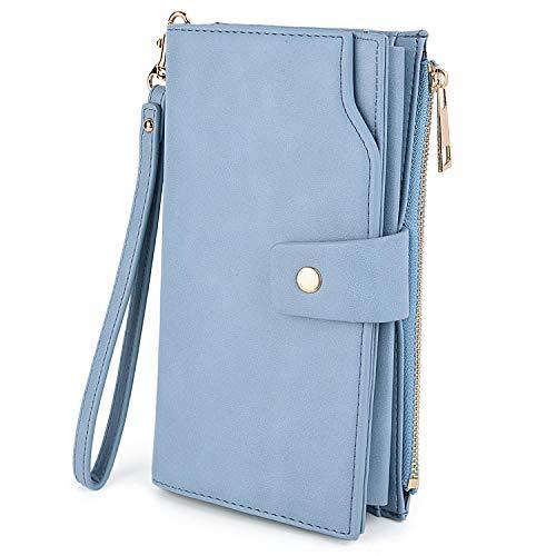 Womens Blue Wallet (UTO Women's RFID Blocking Large Capacity Vegan Leather Clutch Wallet 21 Card Slots Holder Organizer Ladies Veganrse with Wristlet Light Blue)