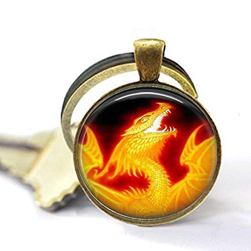 FIRE Dragon Pendant,Fire Breathing Dragon,Flame Throwing Dragon,Dragon on Fire, Necklace,Gift - Fire Pendant Breathing Dragon