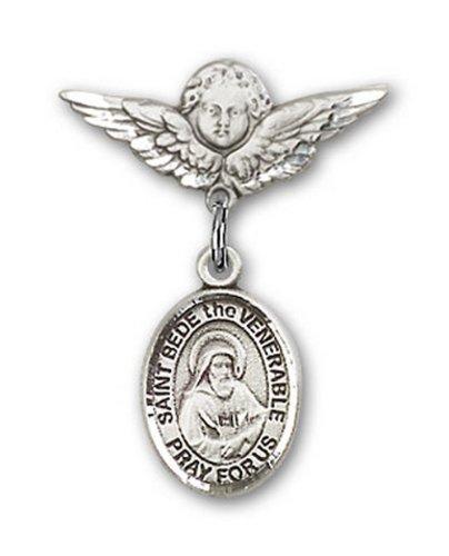Icecarats Créatrice De Bijoux En Argent Sterling St. Bède Le Vénérable Broches Badge Charme D'Ange 7/8 X 3/4