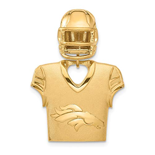 (Kira Riley Gold Plated Denver Broncos Jersey & Helmet Pendant for Chains and Necklaces )