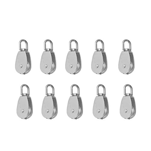 Tackle Football Block (Baosity 10pcs Stainless Steel Single Wheel Swivel Pulley Block Lifting Rope M15 15mm)