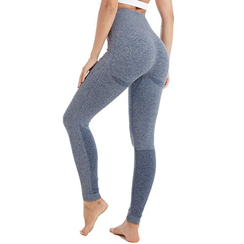 0b2225aa Aoxjox Yoga Pants for Women High Waisted Gym Sport Ombre Seamless Leggings  (Navy Blue Marl