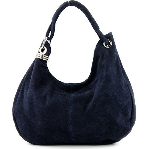 T02 - Bolso de piel para mujer azul oscuro
