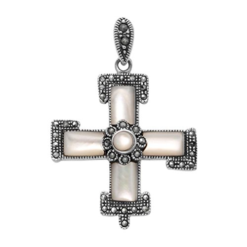 Wild Things Sterling Silver Cross Pendant w/Marcasite & Mother of Pearl - Marcasite Pearl Mother Cross Of