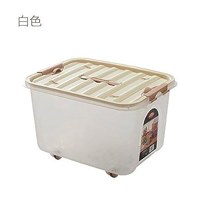 Cama King Size cubierta caja de almacenamiento de cajas de almacenamiento de plástico blanco-S