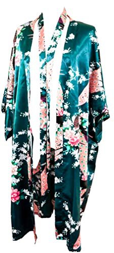 CCcollections Kimono 16 Colours Premium Version Dressing Gown Robe (Green Dark)