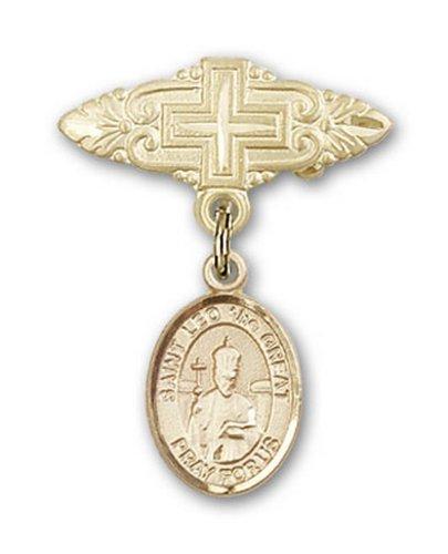 Icecarats Or Bijoux De Créateurs Rempli R. Léon Le Grand Broche De Badge Charme Avec Une Croix X 3/4